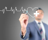 Business man drawing heart life Stock Photo