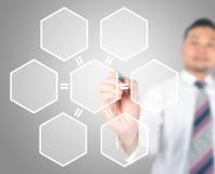 Business man drawing hexagonal Stock Image