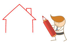Business man drawing house Stock Photography