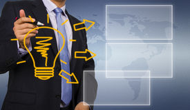 Business man drawing idea bulb Royalty Free Stock Photography