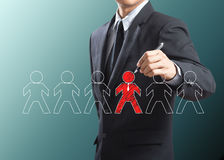 Business man drawing leadership concept Stock Photography