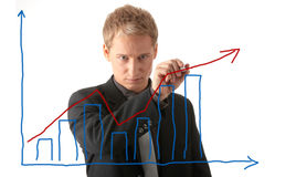 Business man drawing a plan Royalty Free Stock Photos