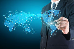 Business man drawing social network connection Stock Images