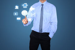 Business man drawing social network Royalty Free Stock Photography