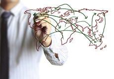 Business man drawing social network Stock Photos