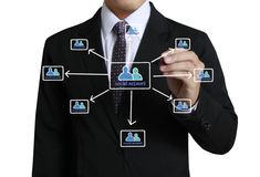 Business man drawing social network Royalty Free Stock Photo