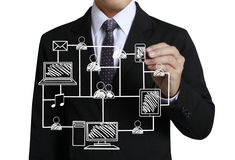 Business man drawing social network Royalty Free Stock Images