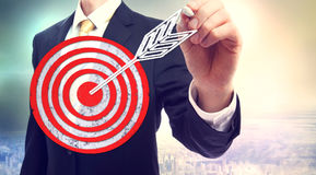 Business man drawing target Royalty Free Stock Image