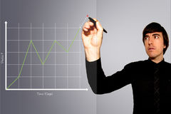 Business Man Draws Graph of Rising Stock Profits. A Business Man Draws Graph of Rising Stock Profits. Indicating on the graph a projection with a red X Royalty Free Stock Photos