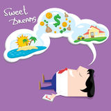 Business man dreaming.  cartoon illustration Royalty Free Stock Photography