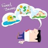 Business man dreaming. cartoon illustration vector illustration