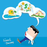 Business man dreaming. cartoon illustration Stock Images