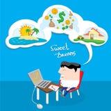 Business man dreaming. cartoon illustration Royalty Free Stock Image