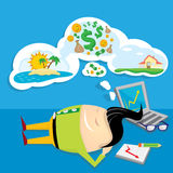 Business man dreaming. cartoon illustration Stock Photography