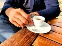 Business man drinking an espresso stock image
