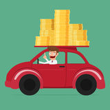 Business man driving a car full of money. Stock Image