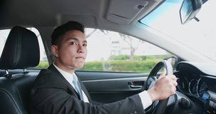Business man driving car royalty free stock image