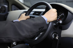 Business Man Driving A Card Stock Image