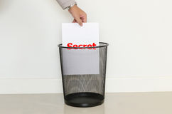 Business man drop a useless paper in to the trash. For idea and business concept royalty free stock photography