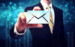 Business Man with Email Envelopes Stock Image