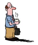Business man / employee having coffee. Business man with glasses having a cup of coffee and carrying a suitcase Royalty Free Stock Images
