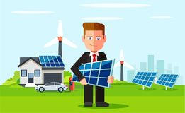 Business man employee of solar power plant and wind farm on background of clean energy powered household. royalty free illustration