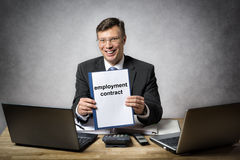 Business man with employment contract Royalty Free Stock Photo
