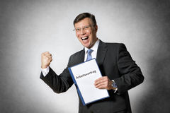 Business man with employment contract Royalty Free Stock Images