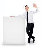 Business man with empty banner Stock Photography