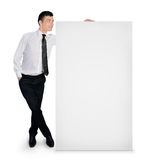 Business man with empty banner Royalty Free Stock Images