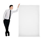 Business man with empty banner Royalty Free Stock Photography