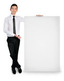 Business man with empty banner Stock Photos