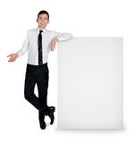 Business man with empty banner Royalty Free Stock Photos
