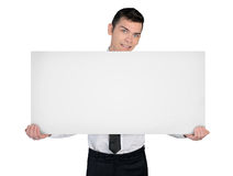 Business man with empty board Royalty Free Stock Images