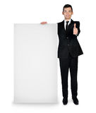 Business man with empty board Stock Photo
