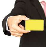 Business man with empty card in hand Stock Photos