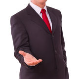 Business man with empty hand. Isolated royalty free stock photography