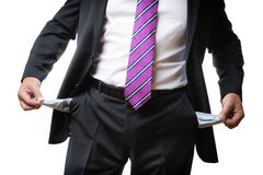 Business man empty pockets Stock Photography