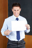 Business man with empty sign Stock Photos