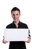 Business man with an empty white card. Isolated in white background royalty free stock image