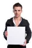 Business man with an empty white card. Isolated in white background stock photos