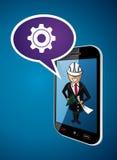 Business man engineer architect phone app concept Stock Photos