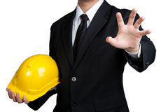 Business man engineer good hand isolated Royalty Free Stock Photo