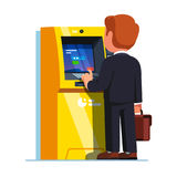 Business man entering PIN code. Street ATM. Business man entering PIN code after inserting credit card to make transaction with teller cash machine. Street ATM vector illustration