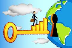 Business Man Entering Profitable World. Illustration of business man on bar graph key entering keyhole in earth Royalty Free Stock Images