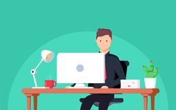 Business man entrepreneur in a suit working at his office desk. Vector illustration in flat style vector illustration