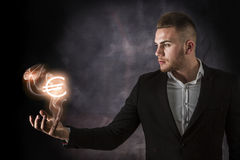 Business Man With Euro on Fire Stock Image