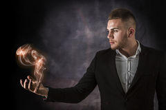 Business Man With Euro on Fire Stock Images