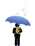 Business man euro money safe under umbrella. An investor or business man keeps his euro investment safe from risk under an umbrella royalty free illustration