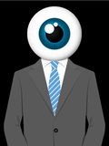 Business man with eyeball head. Business man with observing eyeball head vector illustration